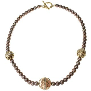 Michael Valitutti Gold/ Silver Gemstone and Pearl Necklace (7.5-8 mm)