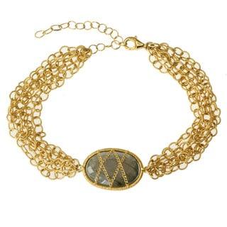 Michael Valitutti Gold over Silver Labradorite Bracelet