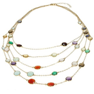 Michael Valitutti Gold over Silver Multi-gemstone 5-strand Necklace
