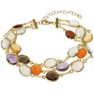 Michael Valitutti Gold over Silver Multi-gemstone 3-strand Bracelet
