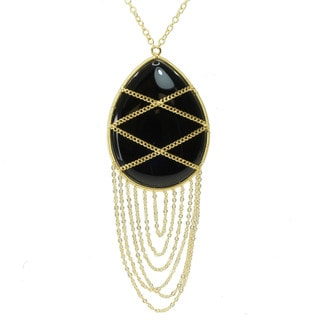 Michael Valitutti Gold over Silver Black Onyx Necklace