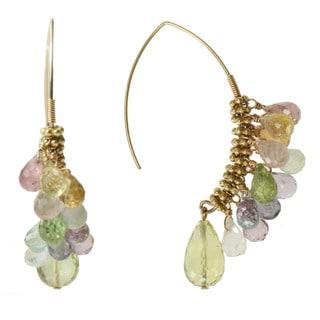 Michael Valitutti Gold over Silver Multi-gemstone Briolette Earrings