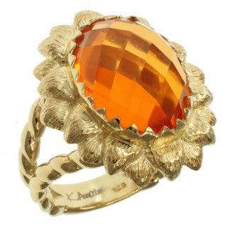 Michael Valitutti Gold over Silver Fire Opal Quartz Ring