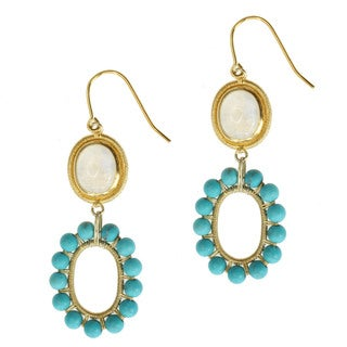 Michael Valitutti Gold over Silver Turquoise and Moonstone Earrings