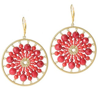 Michael Valitutti Gold over Silver Coral Bead Earrings