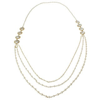 Michael Valitutti Gold over Silver FW Coin Pearl Necklace (3-4 mm)