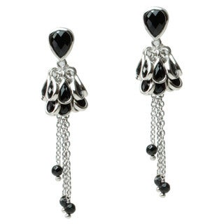 Michael Valitutti Sterling Silver Black Spinel Drop Earrings