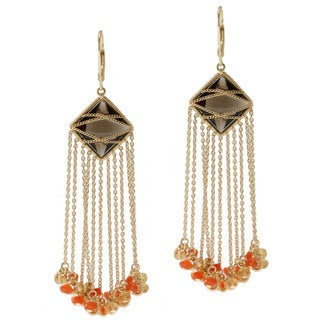 Michael Valitutti Gold over Silver Smoky Quartz, Carnelian and Citrine Earrings