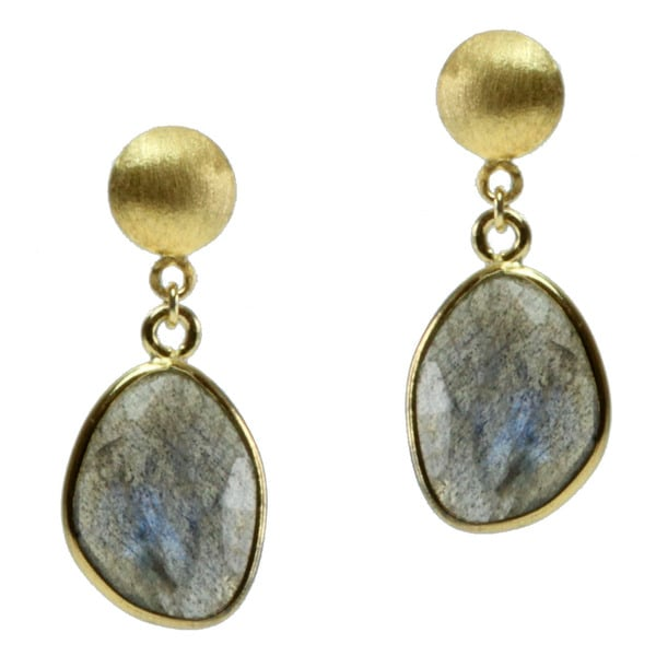 Michael Valitutti Gold over Silver Labradorite Earrings