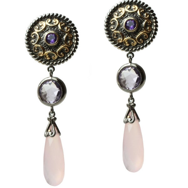 Michael Valitutti Two-tone Rose de France, Amethyst and Chalcedony Earrings