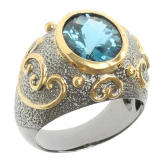 Michael Valitutti Two-tone London Blue Oval Topaz Ring