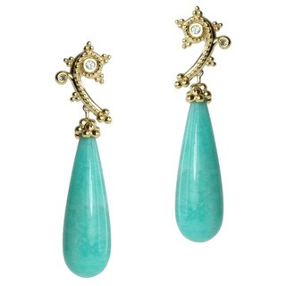 Michael Valitutti Gold over Silver Amazonite, White Sapphire and Diamond Earrings
