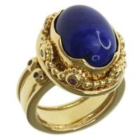 Michael Valitutti Gold over Silver Lapis and Pink Sapphire Ring