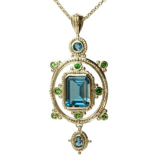 Michael Valitutti Gold/ Silver Blue Topaz and Chrome Diopside Necklace