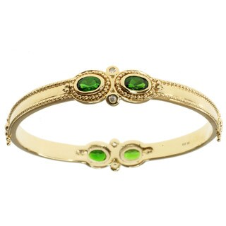 Michael Valitutti Gold over Silver Chrome Diopside and White Sapphire Bangle