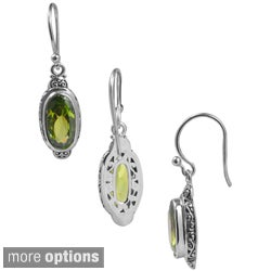 Handmade Sterling Silver Bali Faceted Oval Gemstone Dangle Earrings (Indonesia)
