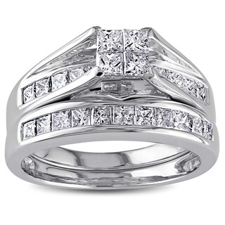 Miadora Signature Collection 14k White Gold 1ct TDW Certified Diamond Bridal Ring Set (More options available)