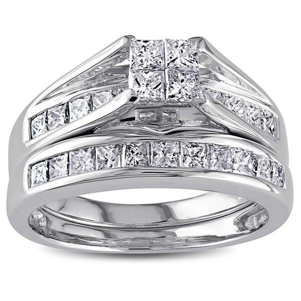 Miadora Signature Collection 14k White Gold 1ct TDW Certified Diamond Bridal Ring Set
