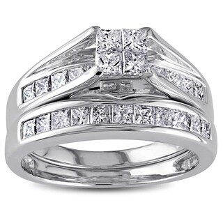 Miadora Signature Collection 14k White Gold 1ct TDW Certified Diamond Bridal Ring Set
