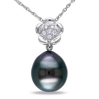 Miadora 10k White Gold Tahitian Black Pearl and Diamond Necklace