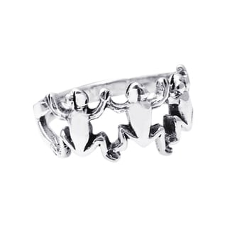 Handmade Sterling SilverLeaping Frog Unity Trio Ring (Thailand)