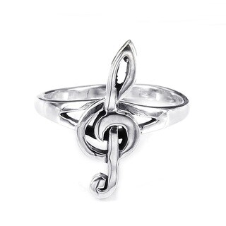 Handmade Sterling Silver Small Treble Clef Musical Note Ring (Thailand)