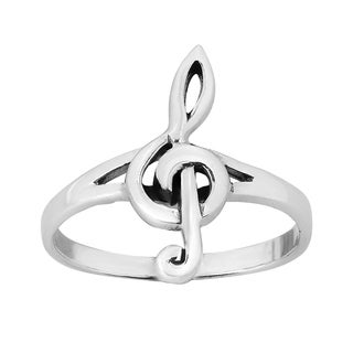 Handmade Sterling Silver Small Treble Clef Musical Ring (Thailand)