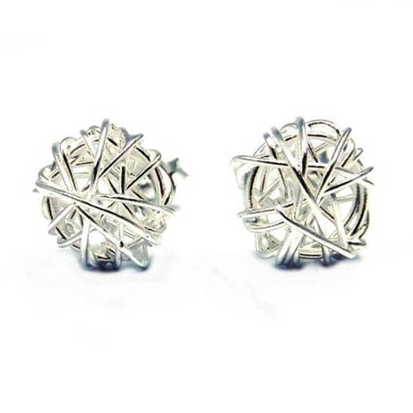 Handmade Silver Tangled Wire Wrap Round Post Earrings (Thailand)