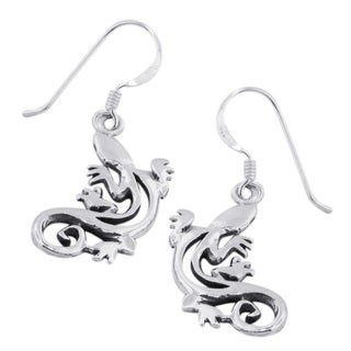 Handmade Sterling Silver Modern Gecko Cut Out Design Earrings (Thailand)
