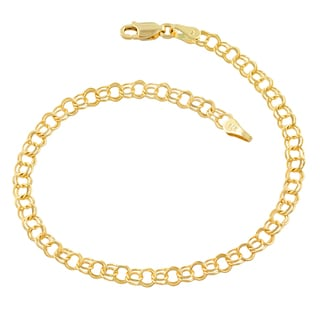 Link to Fremada 14k Yellow Gold 4.3-mm Round Link Charm Bracelet Similar Items in Bracelets