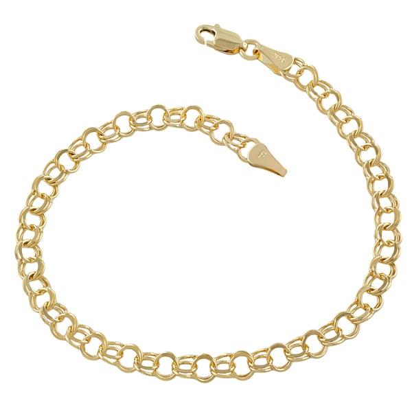 Fremada 14k Yellow Gold 4.9-mm Round Link Charm Bracelet. Opens flyout.