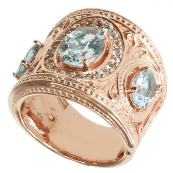 Dallas Prince Gold over Silver Aquamarine and White Sapphire Ring