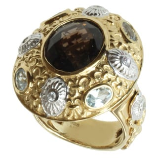 Dallas Prince Gold over Silver Smoky Quartz, Aquamarine and Zircon Ring
