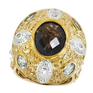 Dallas Prince Gold over Silver Smoky Quartz, Aquamarine and Zircon Ring (2 options available)