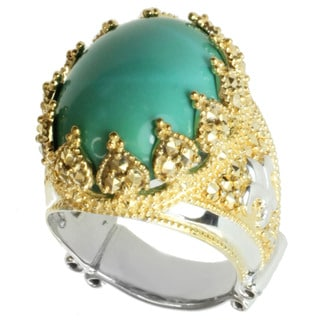 Dallas Prince Gold over Silver Turquoise and Marcasite Ring