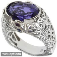 Dallas Prince Sterling Silver Gemstone and Diamond Ring