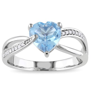 Miadora 10k White Gold Blue Topaz and Diamond Heart Ring