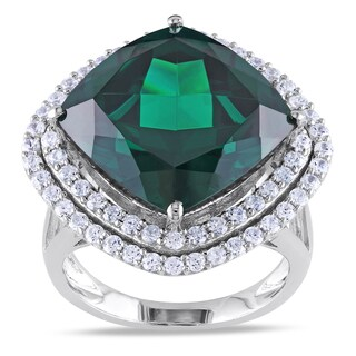 Miadora Sterling Silver Green Cubic Zirconia Cocktail Ring