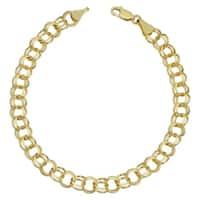Fremada 14k Yellow Gold 6.8-mm Round Link Charm Bracelet
