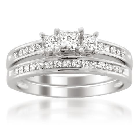 Montebello Platinum 1ct TDW Princess-cut Diamond Bridal Ring Set