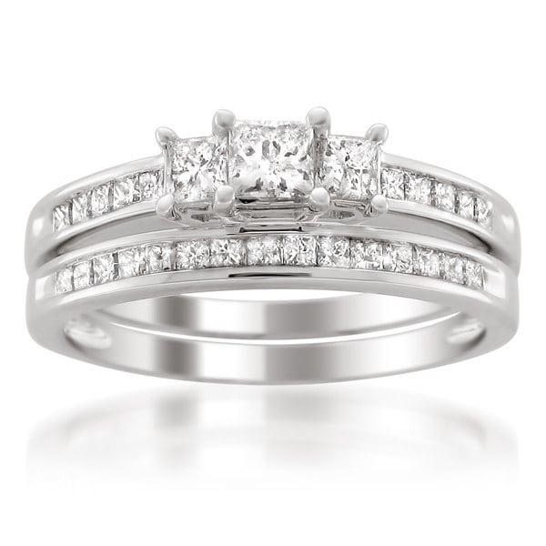 Montebello Platinum 1ct TDW Princess-cut Diamond Bridal Ring Set