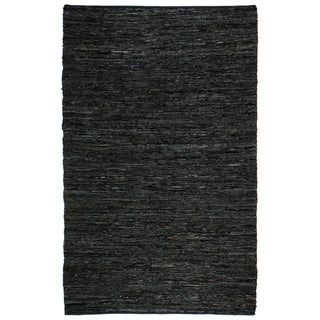 Hand Woven Matador Black Leather Rug (10' x 14')