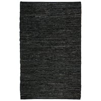 Hand Woven Matador Black Leather Rug (10' x 14') - 10' x 14'
