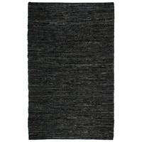 Hand Woven Matador Black Leather Rug - 10' x 14'