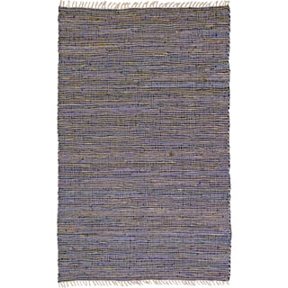 Hand-woven Matador Purple Leather Hemp Accent Rug (30 x 50)