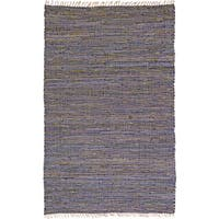 Hand-woven Matador Purple Leather Hemp Accent Rug (30 x 50) - 2'6 x 4'2