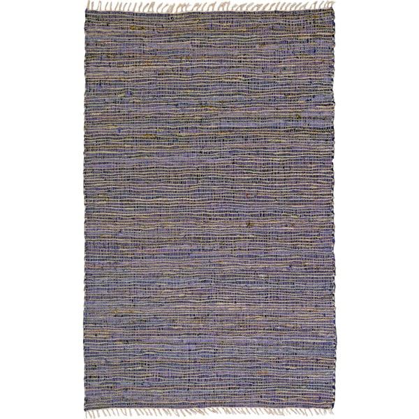 Hand-woven Matador Purple Leather and Hemp Area Rug - 5' x 8'