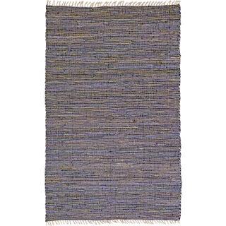 Hand-woven Matador Purple Leather and Hemp Area Rug (5' x 8')