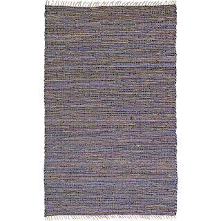 Hand-woven Matador Purple Leather and Hemp Area Rug (5' x 8') - 5' x 8'