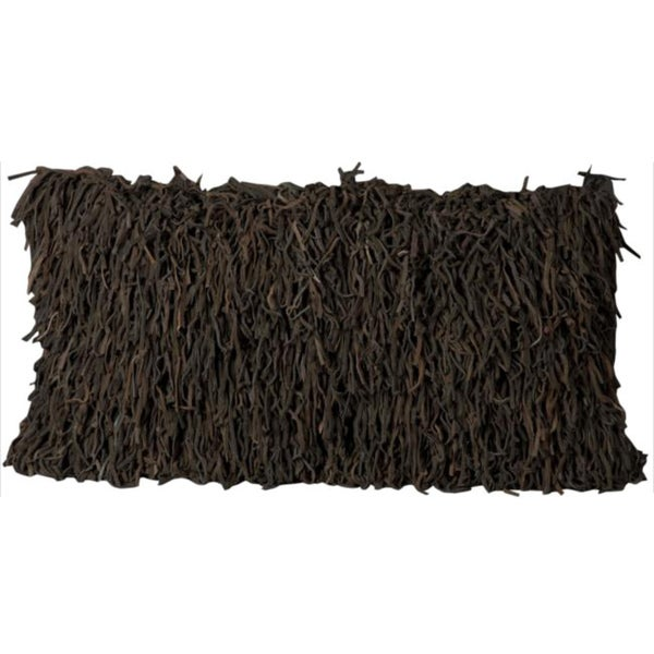Mina Victory Natural Leather and Hide Soft Noodle Shaggy Dark Brown Throw Pillow (14-inch x 30-inch) by Nourison